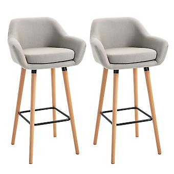 HOMCOM Modern Upholstered Fabric Seat Bar Stools Chairs Set of 2 w/ Metal Frame, Solid Wood Legs Living Room Dining Room Furniture - Beige