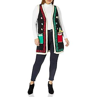 Blizzard Bay Women's Ugly Christmas Sweater Vest, Ornament Black, Medium