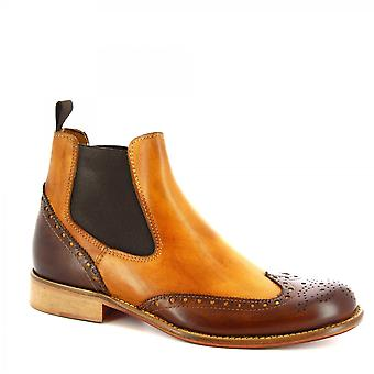 Leonardo Shoes Men's handmade brogues ankle boots in tan brown calf leather