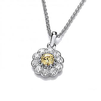 Cavendish French Silver and Citrine Cubic Zirconia Flower Necklace