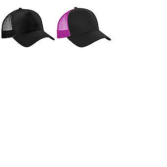 Beechfield Mens Half Mesh Trucker Cap / Headwear (Pack of 2)