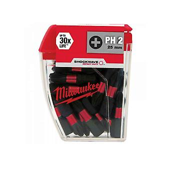Milwaukee 4932472037 SHOCKWAVE PH2 25mm Schroevendraaier Bits 10pc