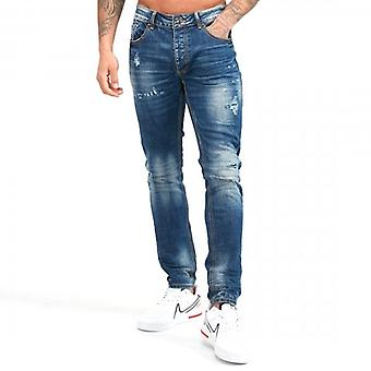 Kings Will Dream Berlin Superslim Stretch Denim Blue Ripped & Repaired Jeans