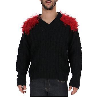 Prada Uma1461uy2f050v Männer's Schwarz/rot Wollpullover