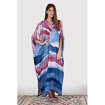Kaftan yolanda cold shoulder cropped sleeve v-neck maxi dress in blue and fuschia print