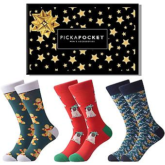 Pug & gingerbread theme gift box 3 pairs of socks