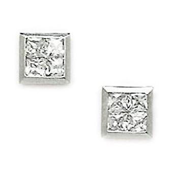14k White Gold CZ Cubic Zirconia Simulated Diamond Small Square Segmented Screw back Earrings Measures 6x6mm Jewelry Gif
