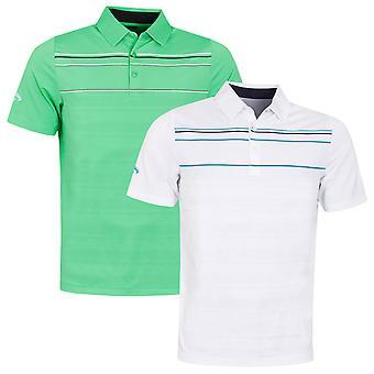 Callaway Golf Mens 2020 Engineered Chest Stripe Moisture Wicking Golf Polo Shirt