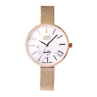 Eton Fashion Watch, Marble Effect Dial, Rose Gold Finish, Mesh Bracelet 3308L-RG