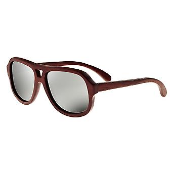 Earth Wood Cannon Polarized Sunglasses - Red Rosewood/Silver