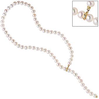 Damen Perlenkette mit Süßwasser Perlen Clip und Endteil aus 585 Gold Länge variabel
