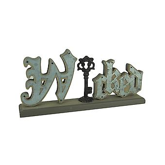 Wicked Word Decor Cutout Wood Standing Sign With Antique Key