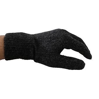 Dolce & Gabbana Gray Black Wool Knitted Wrist Mittens Gloves -- LB25401968