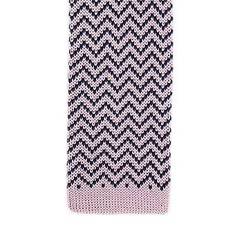 Michelsons van Londen Zig Zag zijde gebreide Skinny Tie - Pink/Navy