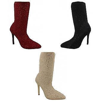 Anne Michelle Womens/Ladies High Heel Diamante Studded Calf Boots