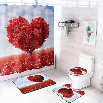 4 Piece Heart Shower Curtain Set