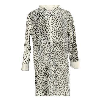 Stan Herman Women's Petite Robe Silky Plush Robe w/ Sherpa Trim Gray A310780