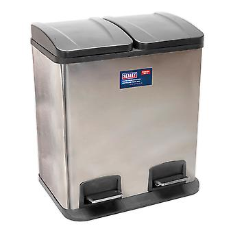 Sealey Bm73 Pedal Bin recyclage 40Ltr inox