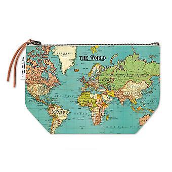 Cavallini Mini Pouch World Map - Cotton Pencil Storage Case