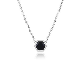 Geometric Hexagon Black Onyx Necklace in 925 Sterling Silver 271N012401925
