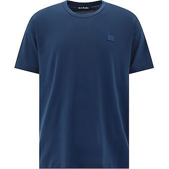 Acne Studios 25e173midnightblue Uomini's T-shirt Blue Cotton
