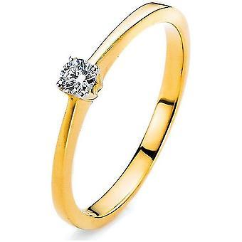 Anello di diamante di 4 pper 750/oro giallo 0,15 ct.