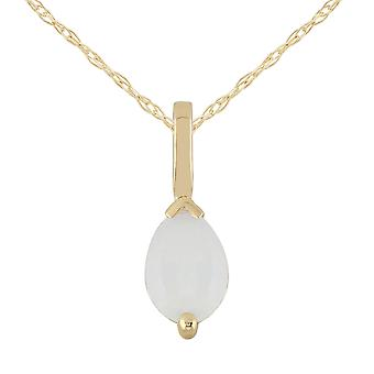 Classic Pear Opal Pendant Necklace in 9ct Yellow Gold 27023