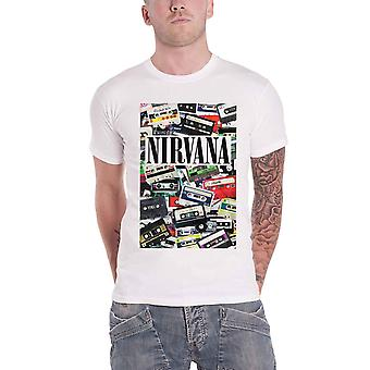 Nirvana T Shirt Casettes Band Logo new Official Mens White