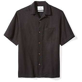28 Palms Men's Relaxed-Fit 100% Silk Camp Shirt, Black, Small