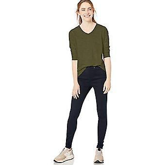 Brand - Goodthreads Women's Vintage Cotton Long-Sleeve V-Neck T-Shirt, Dark Green,Small