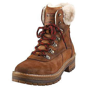 Mustang Lace Up Side Zip Warm Lining Womens Ankle Boots in Brown