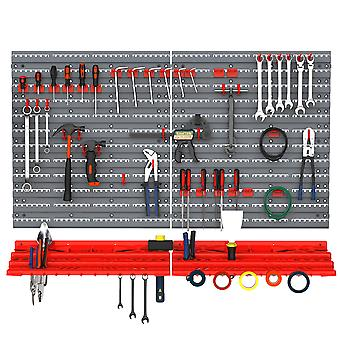 DURHAND 54 Pcs On-Wall Tool Equipment Holding Pegboard Home DIY Garage Organiser DIY w/ 50 Pegs 2 Shelves