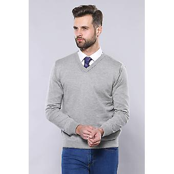 V neck grey sweater | wessi