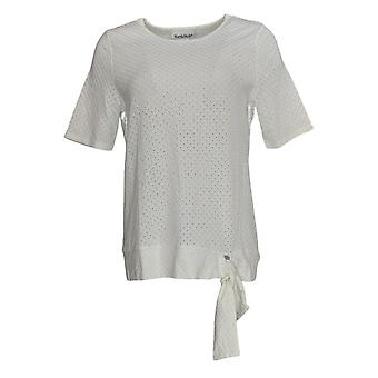 NorthStyle Women's Top Pullover Eyelet Side Tie Ivory