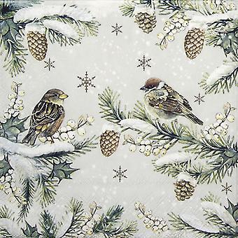 Ambiente 3 Ply Paper Napkins, Sparrows In Snow