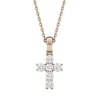 14K Rose Gold Moissanite by Charles & Colvard 2.5mm Round Pendant Necklace, 0.36cttw DEW