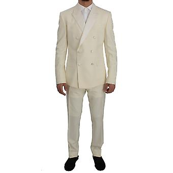 Dolce & Gabbana Krem Beyaz Yün İpek İnce Fit 3 Parça Takım Elbise SIG50083-1