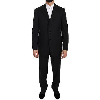 Ermenegildo Zegna Black Two Piece 3 Button Wool Suit KOS1367-48