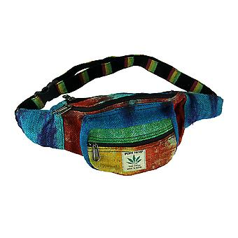 Festival Tie Dye Woven Hemp Rasta Belt Fanny Pack
