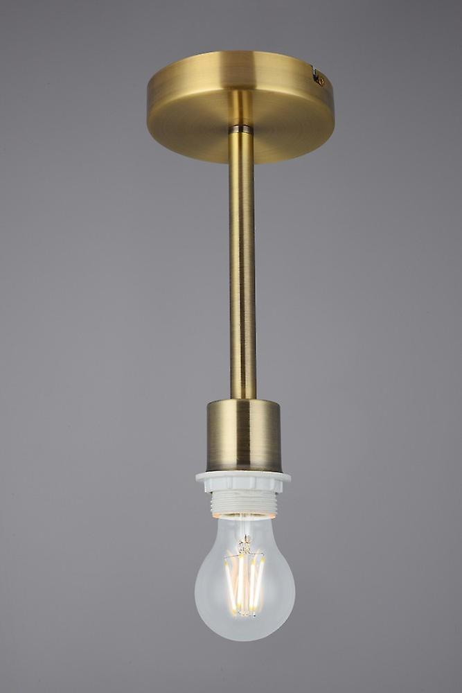 Antique Brass 1 Light E27 Universal Semi Flush Ceiling Fixture, Suitable For A Vast Selection Of Shades