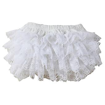 Cute White Color Baby Lace Bloomers, Little Ruffles Shorts With 3 Sizes Cotton