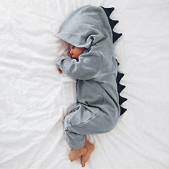 Baby Boy Girls Dinosaur Playsuit Hooded Cotton Long Sleeve Romper Jumpsuit