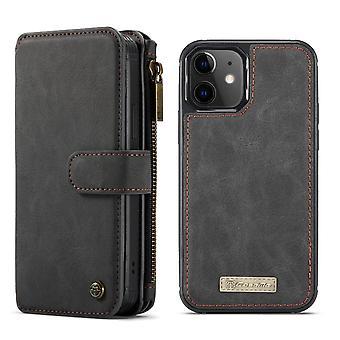 CASEME iPhone 12 Mini Retro nahka lompakko Kotelo - Musta