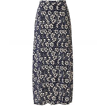 RIXO Georgia Silk Wallpaper Floral Midi Skirt