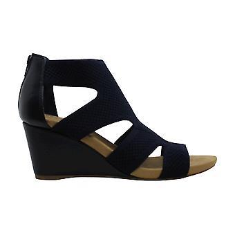 Alfani Womens pennif Fabric Peep Toe Ankle Strap Wedge Pumps