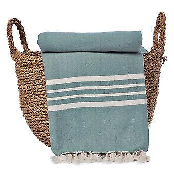 Green Nautical Stripe Throw Blanket