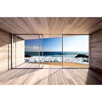 Mural de parede grande janela da baía e vista para o mar