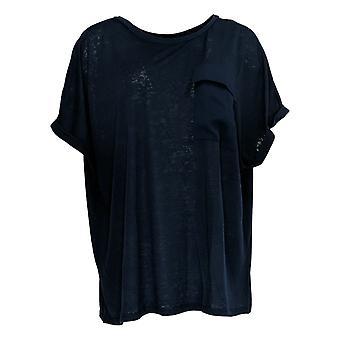 DG2 par Diane Gilman Women-apos;s Plus Top Blue Tunique Pocket Sleeveless 723-680