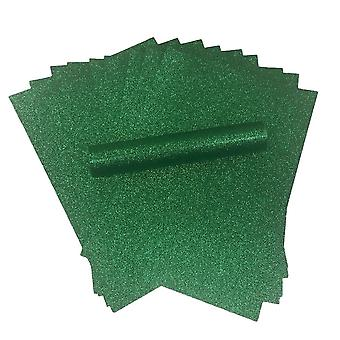 10 A4 Green Glitter Paper Soft Touch Non Shed 150gsm