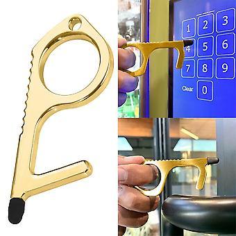 No Touch Safety Key Hygiene Antibacterial Brass Edc Door Opener Closer Keychain